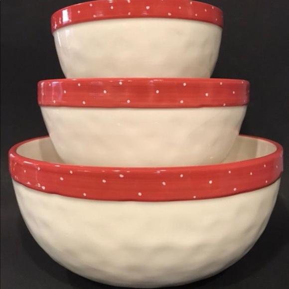 Rae Dunn Christmas Bowls.Rae Dunn Christmas Red Mixing Bowl Set