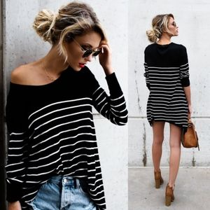 ARIANNA Striped Top - BLACK