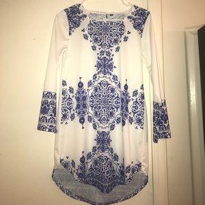 Dresses & Skirts - White and Blue Damask Printed Tunic/Dress