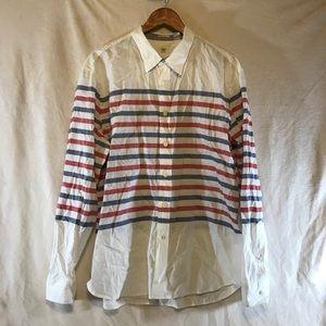 DOCKERS Men's Dress Shirt Size XL Blue/Red/White