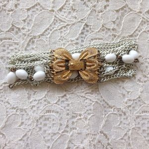 Jewelry - Vintage Monet Butterfly Clasp White Chain Bracelet