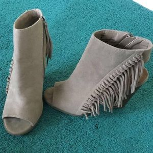 Rampage Taupe Fringe Booties