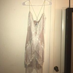 Dresses & Skirts - Nude/Cream Sexy Fringe Dress