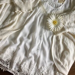 Tops - NWT lace button down flowy top  JODIFL Los Angeles