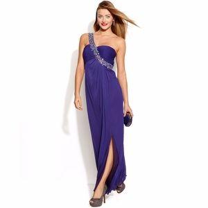 NWT Betsy & Adam One Shoulder Jeweled Dress Sz 4/6