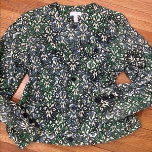 Paisley jean jacket style stretch cotton canvas