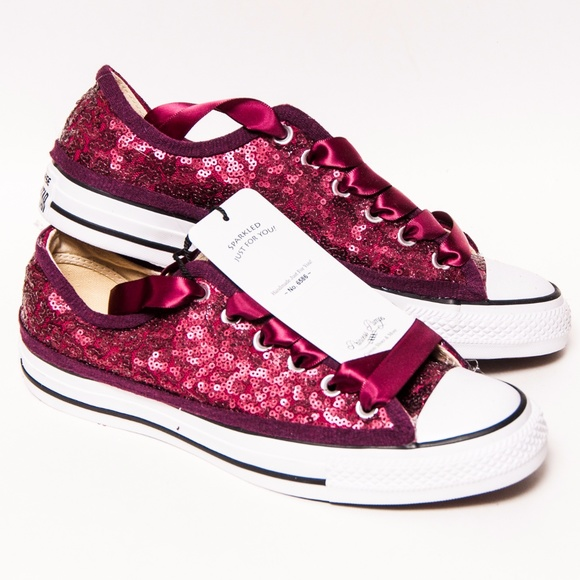 ed8618da1d2 Burgundy Maroon Red Converse Sequin Low Tops Shoes