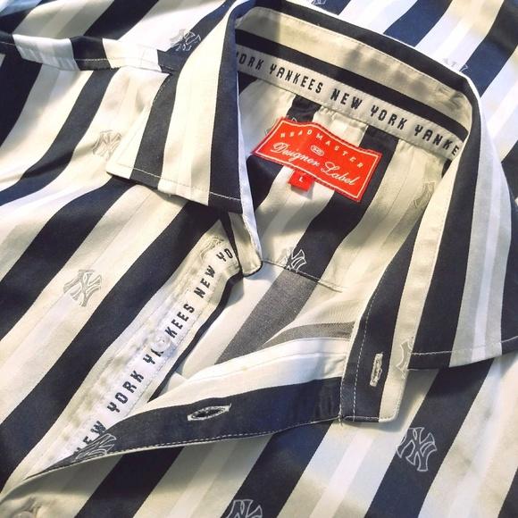 meet c9b3f 7fa09 NY Yankees Button-Down Striped Shirt Sz L