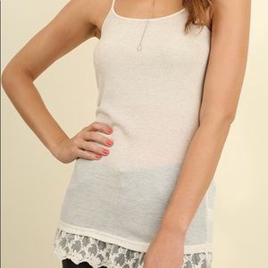 Tops - Oatmeal colored cami with lace