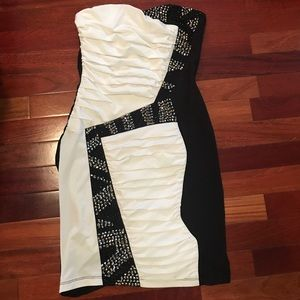out on the town black and white dress!