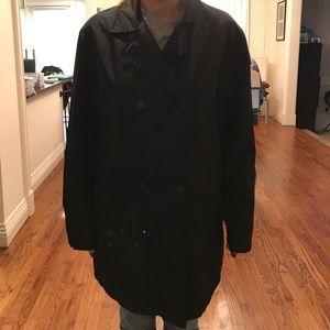 **Auth Prada Black Raincoat Short Nylon sz 44
