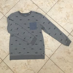 Men's preppy pullover with fun fish print (large)