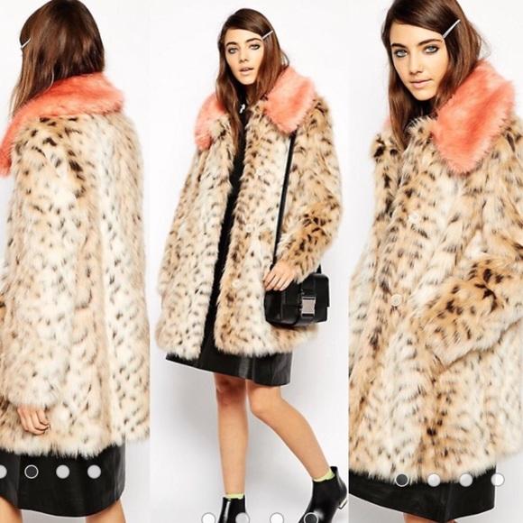 4822f53a66a ASOS Jackets   Blazers - ASOS Faux Fur Leopard Coat Pink Contrast Collar