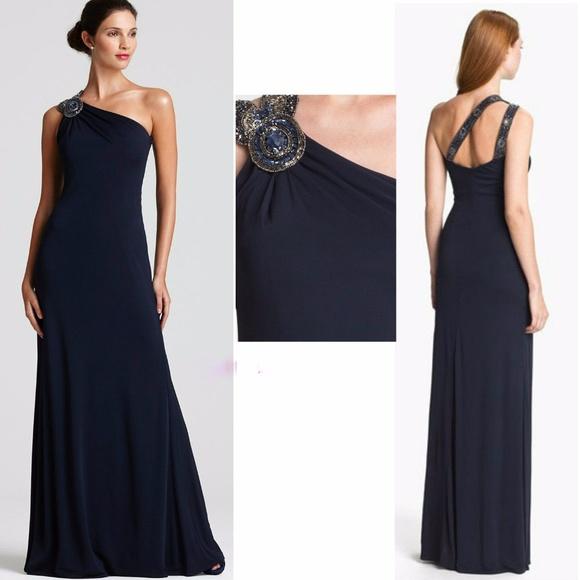 David Meister Dresses | Nwt Embellished One Shoulder Gown | Poshmark