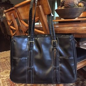 Black Multi-Compartment Tote Bag