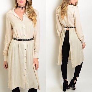 Sassy Camel Belted Shirt Dress