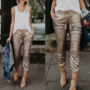EVIE Sequin Joggers - ROSE GOLD
