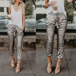 EVIE Sequin Joggers - SILVER