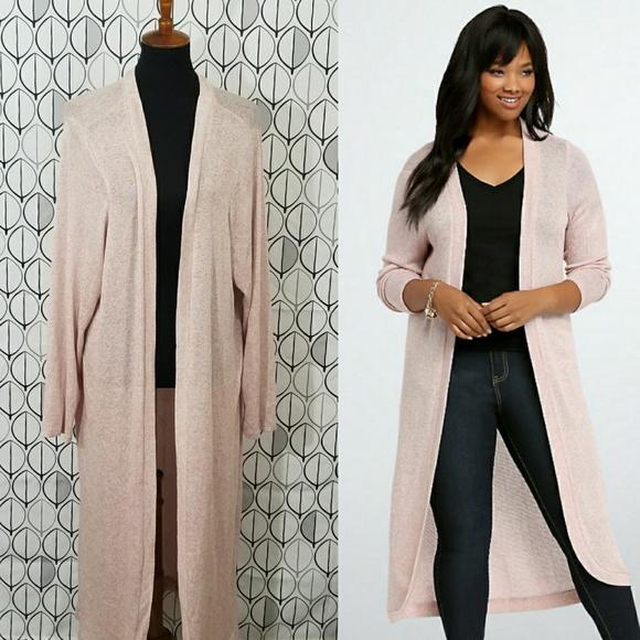 57% off torrid Sweaters - Torrid Dusty Pink knit long Duster ...