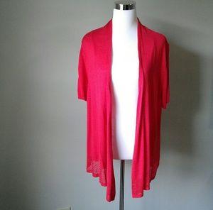Red shirt sleeve open cardigan