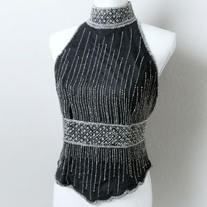 Papell Boutique Vintage Silk Evening Jewel Shirt S