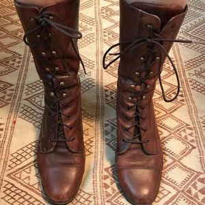 Vintage lace up leather boots