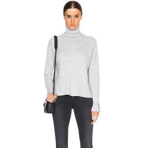 Frame Gray Cashmere Slit Turtleneck Sweater