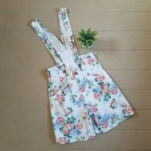 Vintage 80s Floral Overall Shorts