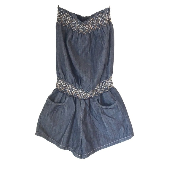 d81c641474 blue spice Other - Small Denim ROMPER Sleeveless Tube Top with Shorts