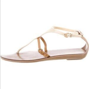 Sergio Rossi Leather and Jelly Flat Sandals size 8
