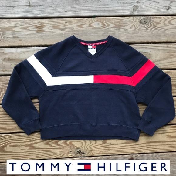 cb1a4a24f Tommy Hilfiger Vintage Sweatshirt Color Block Crop.  M_5a04ce844e95a3649504aba8