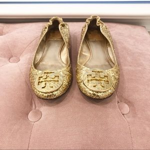 Authentic Tory Burch Gold Glitter Reva Flats 5.5