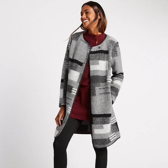 M&S Jackets & Blazers - NWT M&S wool blend patchwork print blanket coat