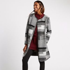 NWT M&S wool blend patchwork print blanket coat