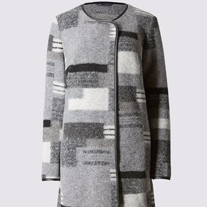M&S Jackets & Coats - NWT M&S wool blend patchwork print blanket coat