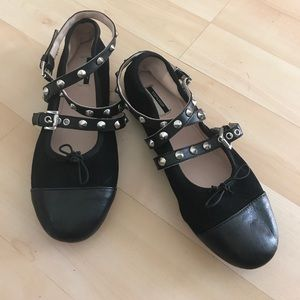 New black Topshop suede leather shoes