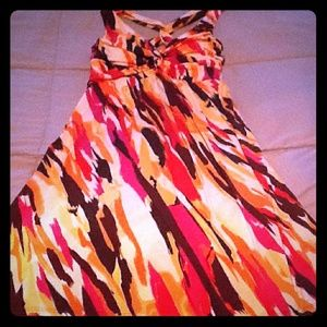 Vibrant colored, free flowing dress w crossback
