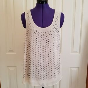 Sheer tank blouse with studs