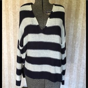 H&M blue and white striped sweater.