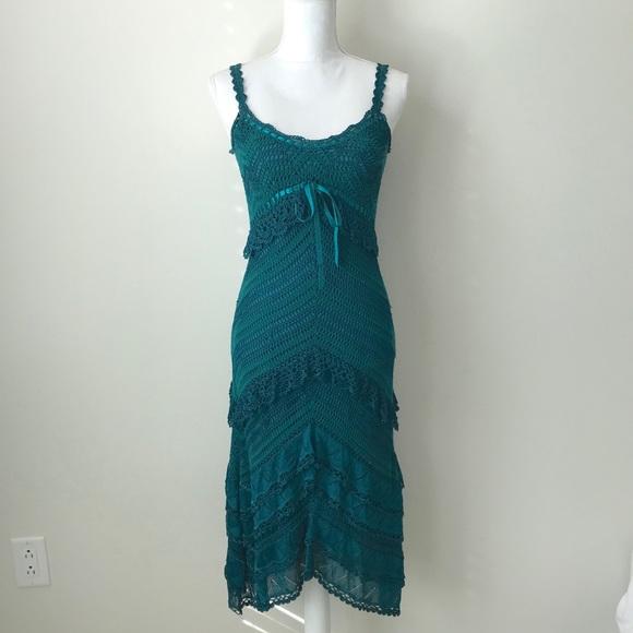 Karen Millen Dresses & Skirts - Karen Millen Teal Lace Detail Ruffled Midi Dress