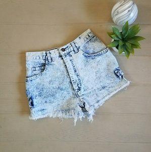 Vintage High Waisted Frayed Jean Shorts
