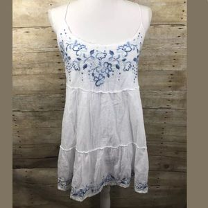 Hollister Boho Embroidered White Blue Floral Tunic