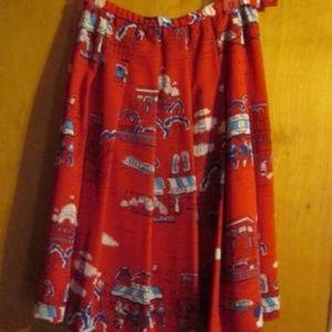 Vintage Pendleton Pleated A-line Skirt Paris Print