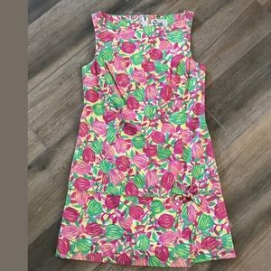 Lilly Pulitzer pink green  Floral shift dress Sz 8