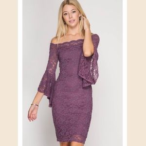 Ruffled Sleeve Lace Bodycon Dress