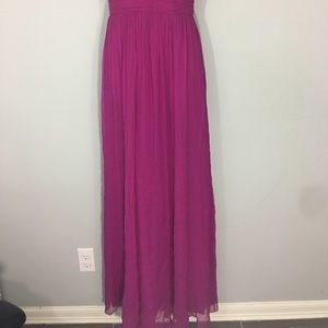 Magenta strappy back evening gown