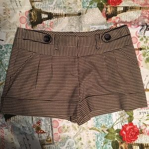 My Michelle Tan & Black Houndstooth Trouser Shorts