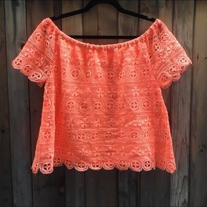 coral off the shoulder top