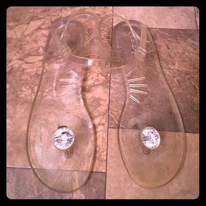 Vintage Clear Floating Diamond Jelly's Sandals