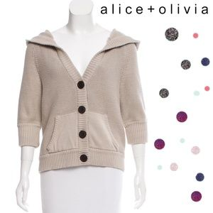 Alice + Olivia Hooded Button-Up Cardigan